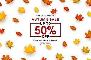 Special Autumn sale with scattered leaves illustration. vector