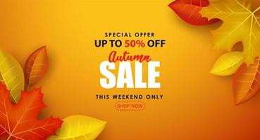 Special Autumn sale with broad leaves on orange background. vector