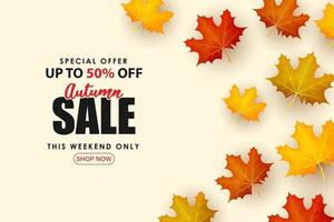 Special Autumn sale with some colorful leaf illustrations. vector