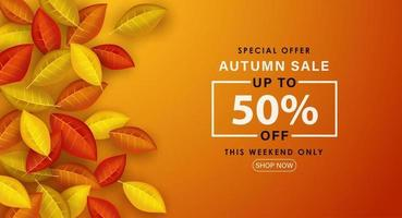 Special Autumn sale with fallen leaves. vector