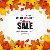 Special Autumn sale square with colorful leaves. vector