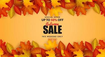 Special Autumn sale with clean classic background. vector
