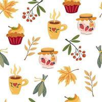 Autumn tea party seamless pattern. Hand draw tea mugs, jars of jam vector