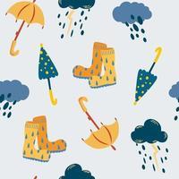 lluvia y paraguas de patrones sin fisuras. otoño. vector