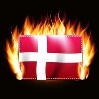 Denmark flag on fire background. Country emblem. Vector Illustration