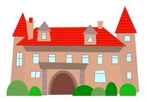 Simple Cartoon Luxury Mansion Estate vector