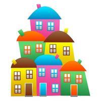 Colorful Little Village Neighborhood Community vector