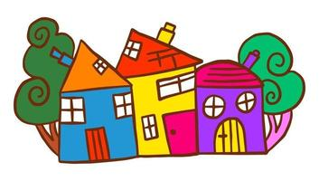 Colorful Hand Drawn Doodle Village Community vector
