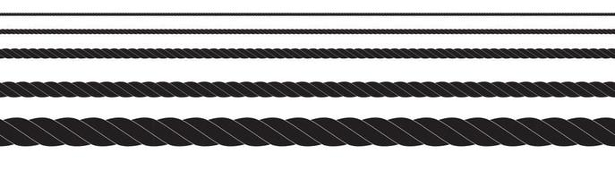 Black and white rope isolated on white. Seamless compilation. Brush. vector