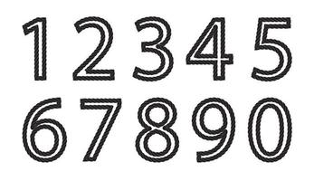 Set of Black and white number made from rope vector