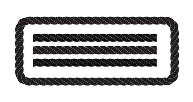 Black and white rope isolated on white. Seamless compilation. vector