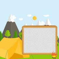 Flat cartoon style nature landscape and trees. Summer Camp Concept vector