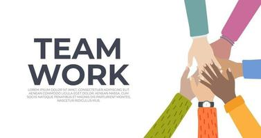 Team Work. People community integration concept with human hands vector