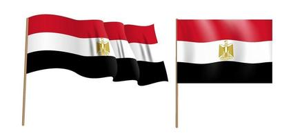 colorful naturalistic waving flag of the Arab Republic of Egypt. vector