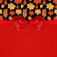 Beautiful Background with Autumn Falling Leaves, Red Bow and Ribbon. vector