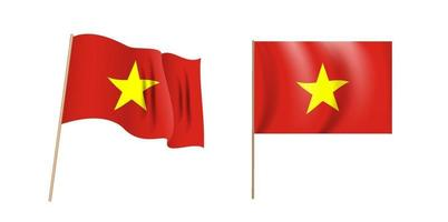 colorida bandera que agita naturalista de vietnam. vector