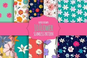 10 Hand drawn flower seamless pattern background collection set. vector