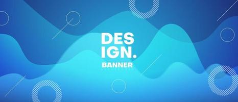 blue geometric banner background with wave vector
