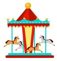 Amusement park element, Carousel with horses. vector