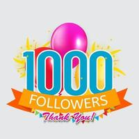 1000 Followers, Thank you Background for Social Network friends vector