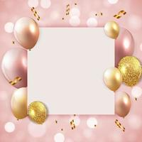 Fondo de globos de feliz cumpleaños brillante con plantilla de papel blanco vector