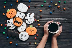 Candy and scary gingerbreads on the Halloween. photo