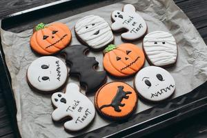 Homemade halloween cookies. photo