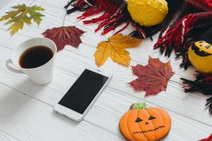 Leaf, pumpkin, plaid and gingerbread photo