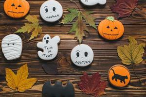 Mummy, bat, pumpkin, ghost, black cat cookies for Halloween photo