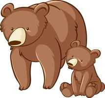 Mother and baby grizzly bear cartoon on white background vector