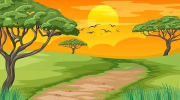Blank landscape scene of nature park at sunset time vector