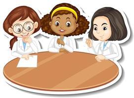 Three scientist girls cartoon character vector