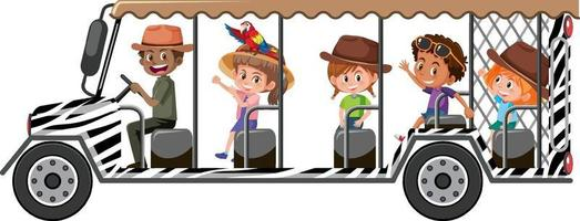 Safari concept with children in the tourist car on white background vector