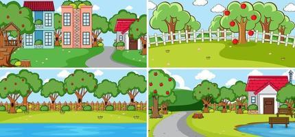 Outdoor scene set with many kids doodle cartoon character vector