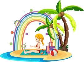 Rainbow on the island with a girl on the beach vector