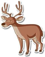 Sticker design with cute moose isolated vector