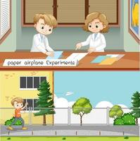 Paper airplane experiment with scientist kids vector