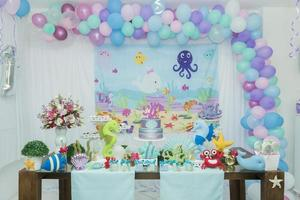 Cake table overview decorated with the seabed theme photo