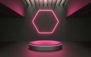 Escenario de producto de neón brillante 3d para escaparate o producto tecnológico promocional foto