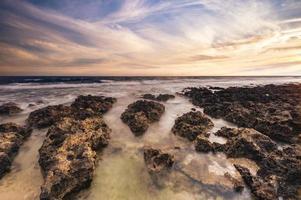 Houshi Fringing Reef in lamay island, pingtung, taiwan at dusk photo