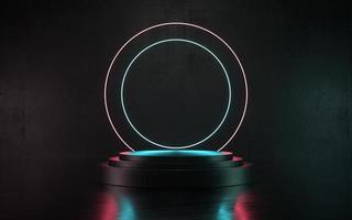 Ilustración 3d podio de producto de escena de neón oscuro o escenario para promoción foto