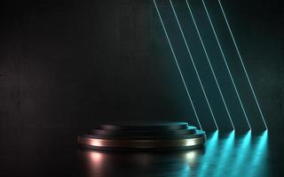 3D Illustration dark neon scene product podium or stage for promo photo