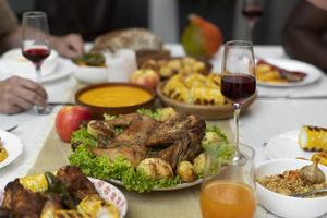 Delicious Thanksgiving day food table photo