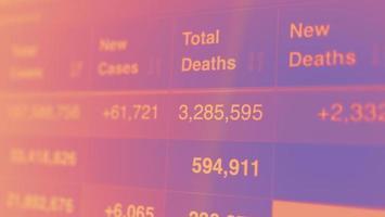 Coronavirus pandemic statistics on screen photo
