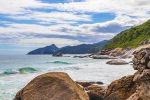 Praia Lopes Mendes beach on tropical island Ilha Grande Brazil. photo