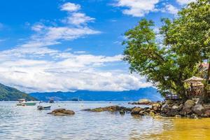 The big tropical island Ilha Grande Abraao beach Brazil. photo