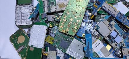 The damaged circuit board pile cellular is an older model photo