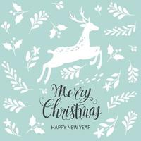 Merry Christmas and Happy New Year. Greeting card. Vector