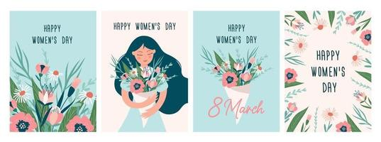 International Women's day greeting card set. 8 March. Vector