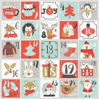 Christmas Advent calendar with hand drawn elements. Vector